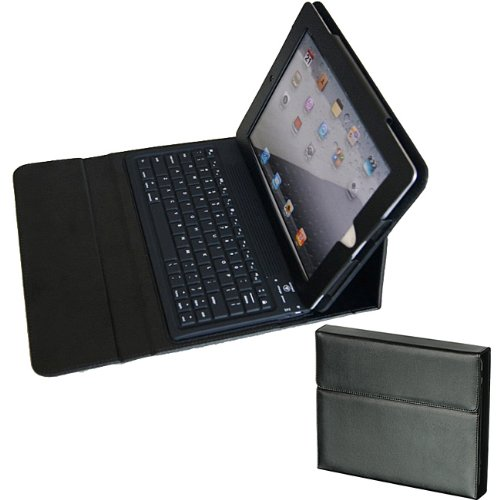I 2nd Generation 3G, Wifi Model 16GB 32GB 64GB Tablet Slate Black Leather Carrying Case Cover Binder with Bluetooth Keyboard + High Quality Screen Protector ()