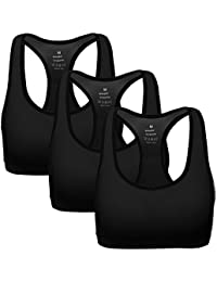 f0b27c1241f91 Women Racerback Sports Bras - High Impact Workout Gym Activewear Bra Pack  of 3
