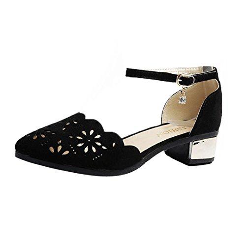 huateng Zapatos de Mujer - Moda de Primavera y Verano Zapatos de Tacón Alto Huecos Wild Sexy Huecos Zapatos de Baile (Gris) Negro