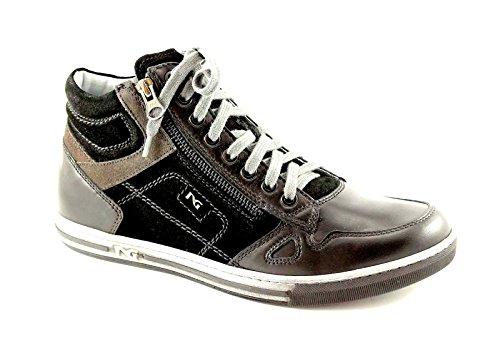 BLACK GARDENS 3660 schwarze Schuhe Mann zwischen zip Sportturnschuhleder Nero