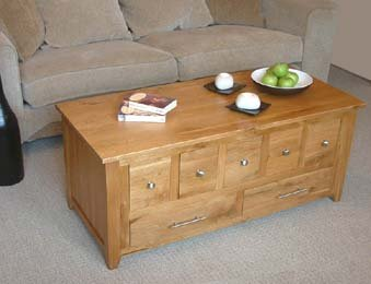 Orrin Contemporary Solid Oak Coffee Table with CD Storage Amazonco