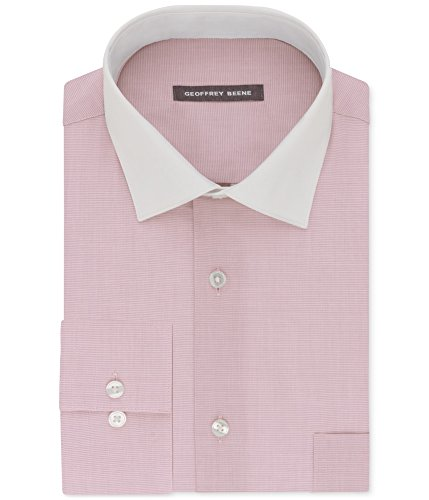 Geoffrey Beene Mens Wrinkle Free Button up Dress Shirt pinkmist 18