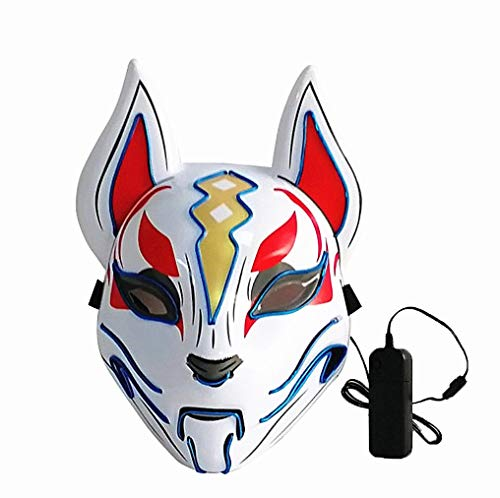 Moonideal Led Light UP Game Fox Mask | Neon Line Halloween Mask | Sound Induction Mask Controller | Flash with Music 4 Different Mode (deep Blue)