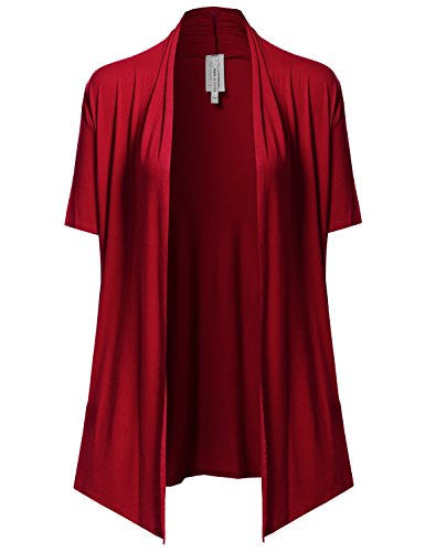 Front Jersey Cardigan (Made by Emma Solid Jersey Knit Draped Open Front Short Sleeves Cardigan Red L)