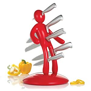 THE EX Kitchen Knife Set by Raffaele Iannello, Red