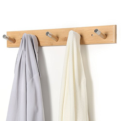 LANGRIA Wall Mounted Coat Rack with Hooks Eco-Friendly Space Saving Bamboo Design with Embedded Screws and Five Hangers for Jackets, Coats, Hats, Umbrellas, Scarfs, Bags Holds 10kg in Weight