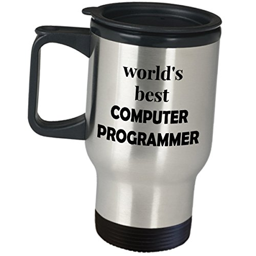(Worlds Best Computer Programmer Travel Mug - Coffee Tumbler Insulated Stainless Steel Office Gift Software Programming Developer Engineer Coder Analyst CIS Funny Cute Gag Gifts)