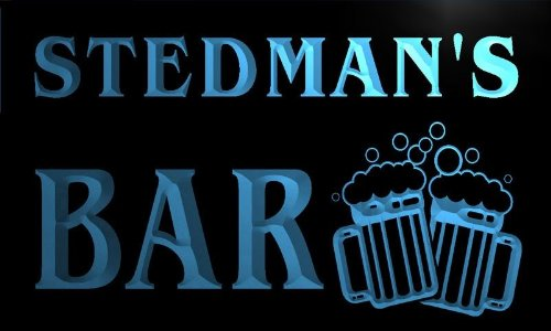 w007105-b STEDMAN'S Name Home Bar Pub Beer Mugs Cheers Neon Light Sign