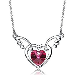 Valentines Day Gifts NEEMODA Women's Pink Crystal Heart Pendant Necklace White Gold Plated Angel Wings Fashion Jewelry