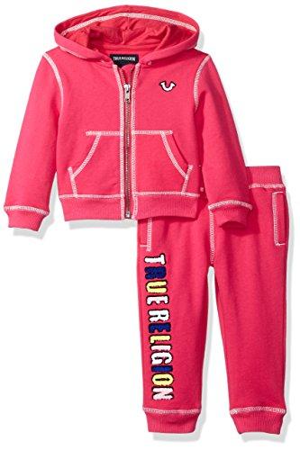True Religion Baby Girls' Pop Color True Hoody Set, Fuchsia, 6 Months by True Religion