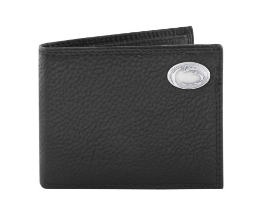 NCAA Penn State Nittany Lions Zep-Pro Pebble Grain Leather Bifold Concho Wallet (Black)