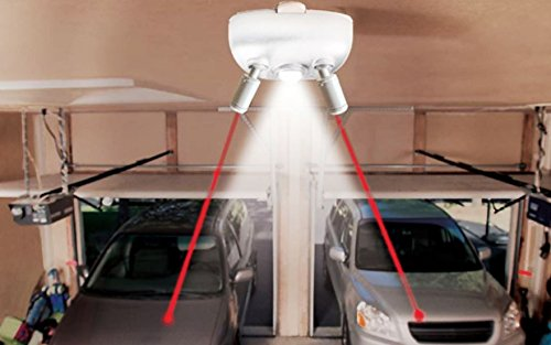 Garage Parking Light - Maxsa Innovations 37314-W-RS Park Right Garage Laser Park Dual Lasers with Motion Activated Light in All White