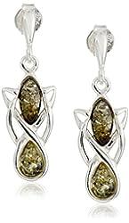 Sterling Silver Green Amber Celtic Earrings