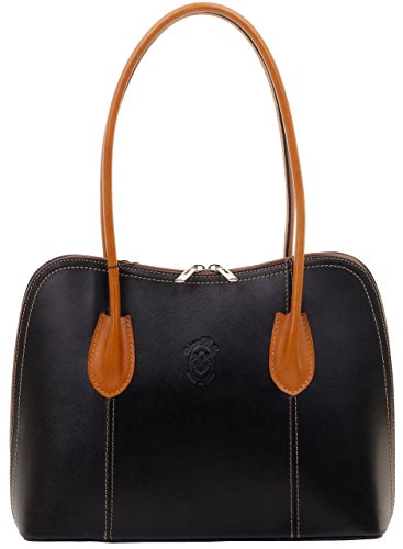 - Primo Sacchi Italian Smooth Black with Leather Classic Long Handled Handbag Tote Grab Shoulder Bag