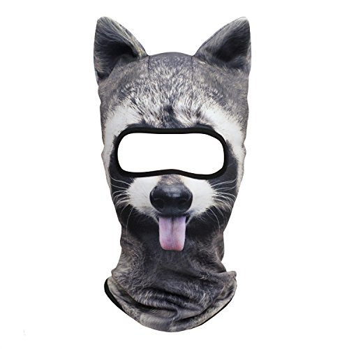 WTACTFUL 3D Animal Ears Balaclava Breathable Cover Hood Face Mask Sun Protection for Skiing Snowmobile Riding Hunting Music Festivals Raves Halloween Party Activities Funny Racoon MEB-17