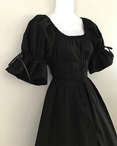 S Largo Size 24 Vintage color Halloween Mujer Corta Fiesta Vestidos Para Black Jinsh Manga De Inch Vestido Estilo Grey waist 80 5xq7Zf6