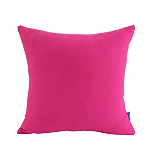 JES&MEDIS Cotton Canvas Solid Pillow Cover Candy Color Pillow Case 18 x 18 Inch,Rose