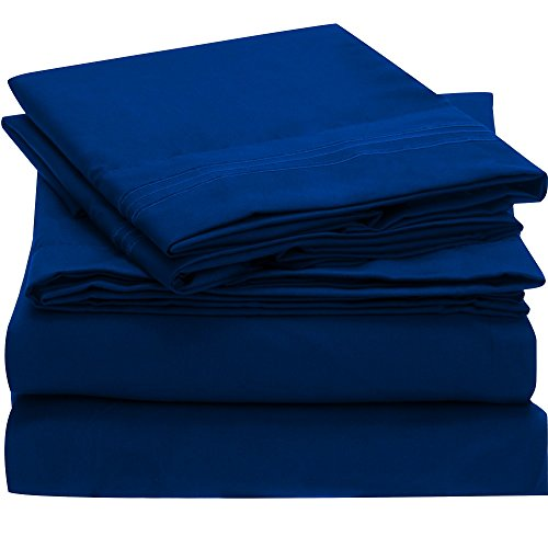 Ideal Linens Bed Sheet Set - 1800 Double Brushed Microfiber Bedding - 4 Piece (Queen, Imperial Blue)
