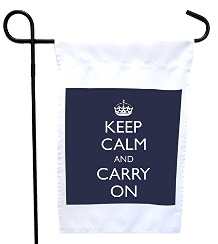 Rikki Knight Keep Calm and Carry on - Blue House or Garden Flag with 11 x 11-Inch Image, 12 x 18-Inch