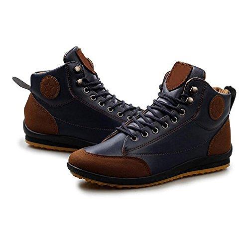 Gleader Hombres ocasional invierno del Alto-top zapatos de terciopelo calidas botas impermeables Zapatillas Azul ( Tamano: 43 )
