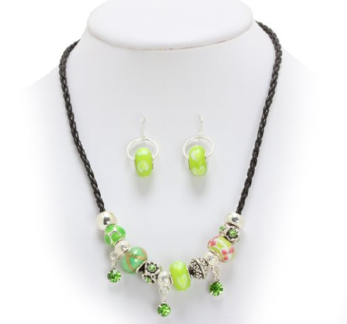 Royal Diamond Style Charm Fashion Designer Necklace and Earrings set with Murano Glass Beads - LIGHT (Green Murano Glass Ring)