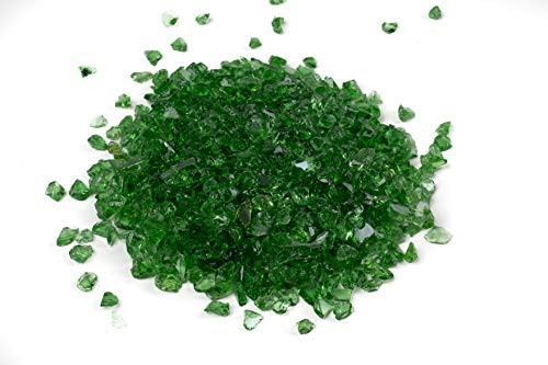 Galaxy Glass Size 1 Emerald Green 1lb - Crushed Glass for Decorations, Crafts, Vase Filler, Terrarium, Sea Glass, Fish Tanks, Garden, Fusing, Crystals