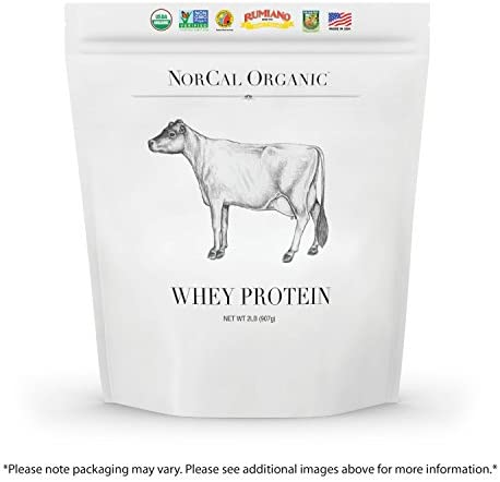 Norcal Organic Grass Fed Whey Protein Powder, Unflavored, 2lbs 21grams Protein, 4.9grams BCAA, 100 Calories per Serving Pasture Raised, Non-Denatured, Non GMO,No Soy or Gluten, Source