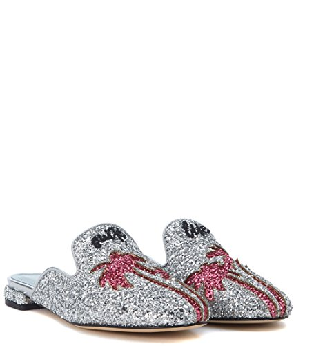Chiara Ferragni Collection Womens Chiara Ferragni Suite Silver Glitter Mules Silver