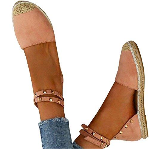 Señoras Lace Gamuza Minetom Up Verano Correa Sandalias Tobillo Zapato Moda Sandalias Mujeres Rosa Bohemia Zapatos A Casual Planas U6x8qU