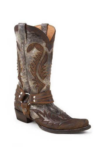 Stetson Men's Outlaw Distressed Harness Riding Boot, Brown, 10 D US