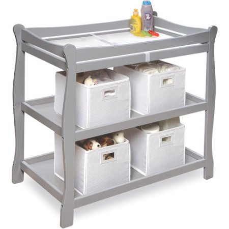 Badger Basket Sleigh Style Baby Changing Table (Gray) by Badger Basket (Image #1)