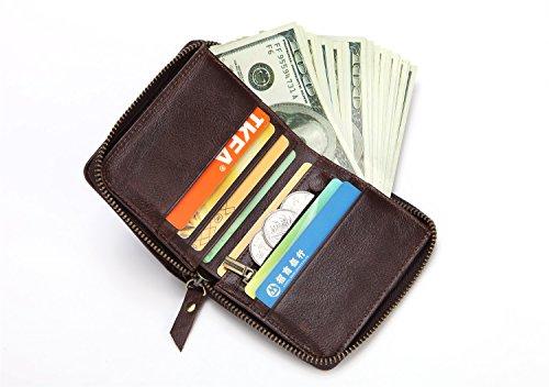 Bolso de cremallera de color sólido de la cartera de la cartera de los hombres corto Multi-Card Oil Wax Leather Bags Brown