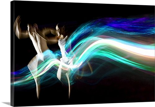 Gallery-Wrapped Canvas entitled Dance couple race abstract blue light trails by Great BIG Canvas 36''x24'' by greatBIGcanvas