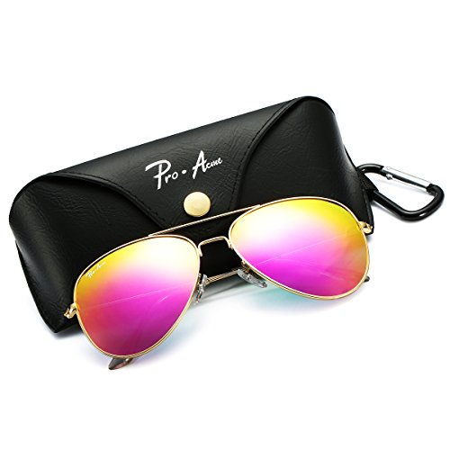 Pro Acme PA3026 Large Metal Polarized Aviator Sunglasses with Eyeglasses Case (Rose Pink Mirrored - Sunglasses Pink Polarized Aviator