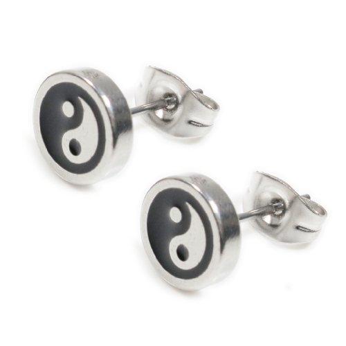 - Pair Stainless Steel Silver Black Ying Yang Post Stud Earrings 8mm