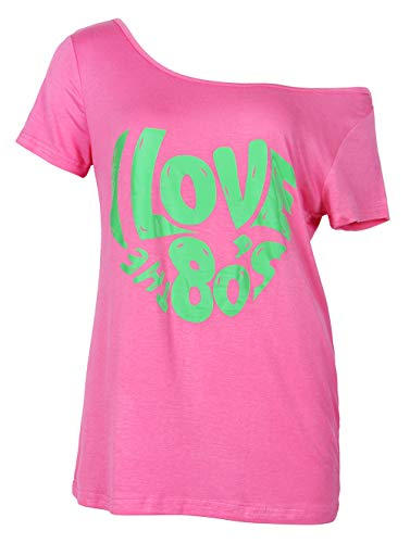 Smile fish Women's I Love The 80's Off The Shoulder Tops Disco 80s Costumes T Shirts (007HotPink4, XL)