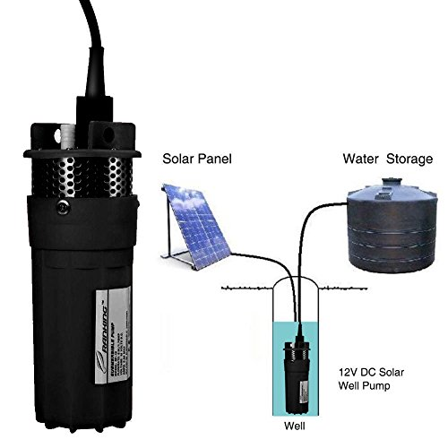 Stainless Shell Submersible Pump,12V Dc Black Solar Water Pump for Water Storage and Remote Water Use Operation Deep Well Pump for Farm Ranch Household (1/2Inch) by Zerone