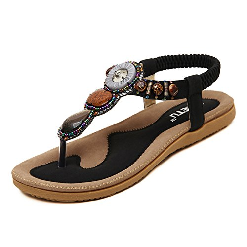 (SHIBEVER Summer Flat Gladiator Sandals for Women Comfortable Casual Beach Shoes Platform Bohemian Beaded Flip Flops Sandals Black 6)