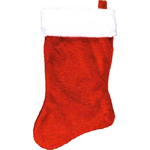 18'' Red Plush Christmas Stocking with White Fur Trim ~ Red/White