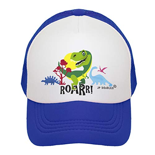 JP DOoDLES T-Rex Dinosaur on Kids Trucker Hat. Kids Baseball Cap is Available in Baby, Toddler, and Youth Sizes.... (Royal Blue, ITTY Bitty 4-12 MOS)
