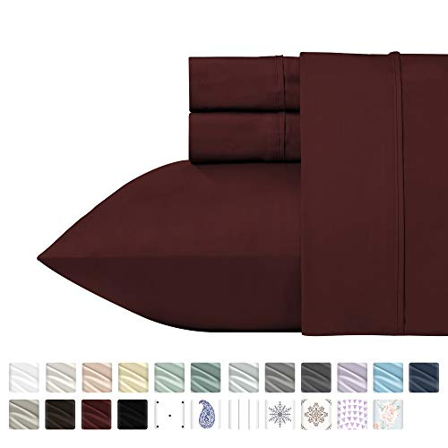 400 Thread Count 100% Cotton Sheet Set, Red Wine Queen Size Sheets, Highest Quality Long-staple Combed Pure Natural Cotton Bed Sheets For Bed, Soft Sateen Sheets Fits Mattress Upto 18'' ()