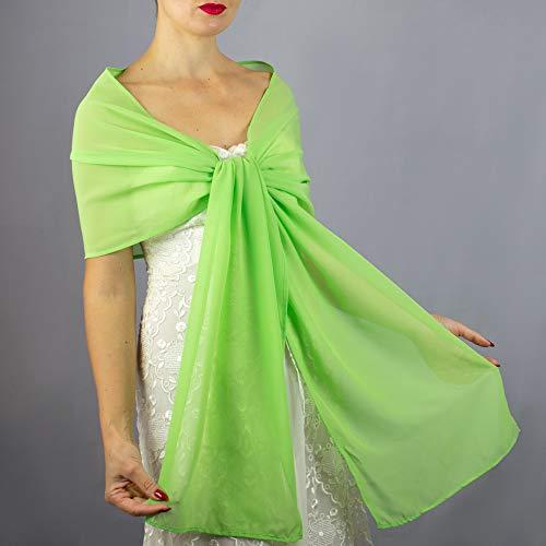 Chiffon lemon green lime stole wrap shawl evening dress accessory