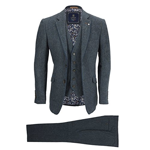 Cavani Mens Navy Blue 3 Piece Suit Wool Mix Vintage Herringbone Tweed Smart Formal Retro Tailored Fi [Chest UK 38 EU 48,Trouser 32