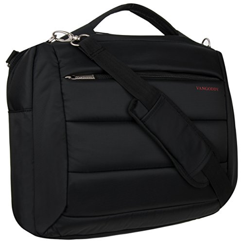 Jet Black Student Business Professional Laptop Backpack Messenger Shoulder Bag For 13.3 to 15.6 inch Laptops Macbook Computers