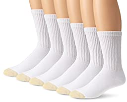 Gold Toe Men\'s Cotton Extended Crew Big and Tall Athletic Sock, White, 6-Pack, 13-15 (Shoe Size 12-16)