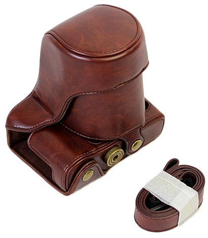 Protective PU Leather Camera Case Bag for FUJIFILM Fuji X Series X - A3 18-55mm Lens with Shoulder Neck Strap Belt Dark Brown