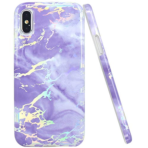 JAHOLAN Compatible iPhone X Case iPhone Xs Shiny Holographic Purple Marble Design Clear Bumper Glossy TPU Soft Rubber Silicone Cover Phone Case