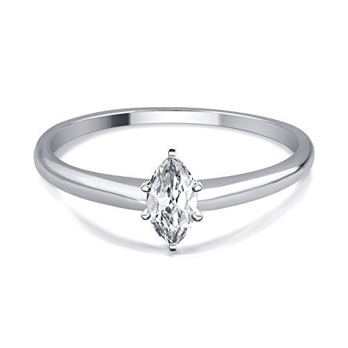 (1/3 Cttw Marquise Diamond Solitaire Ring in 14K White Gold)