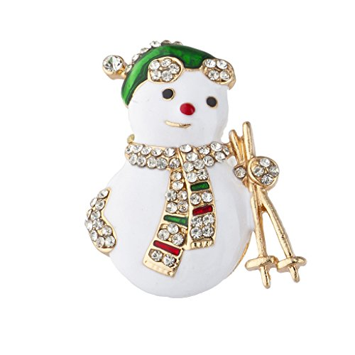 Lux Accessories Gold Tone Enamel Christmas Holiday Faux Pave Snowman Brooch Pin ()