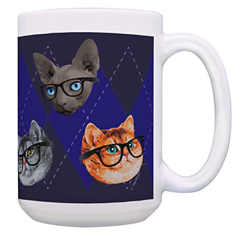 Cat Themed Gifts Cats in Glasses Mug Cat Lover Mug Cat Owner Gifts 15-oz Coffee Mug Tea Cup Multi